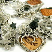 Reserved - Ouija Board Occult Altered Art Charm Bracelet