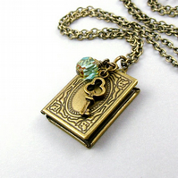 Memoirs Book Locket Necklace in Antiqued Brass