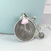 Old Fashioned Bicycle Necklace in Silver