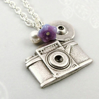 Snapshot Camera Necklace in Silver