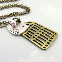 Mod Spotted Bird and Birdcage Necklace