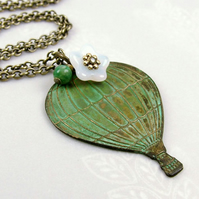 Hot Air Balloon Necklace - Verdigris Antiqued Brass