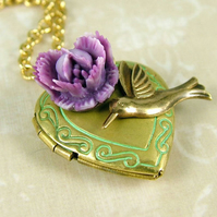 Verdigris Locket Necklace with Hummingbird