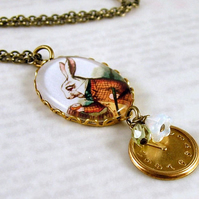 The White Rabbit Necklace - Alice in Wonderland