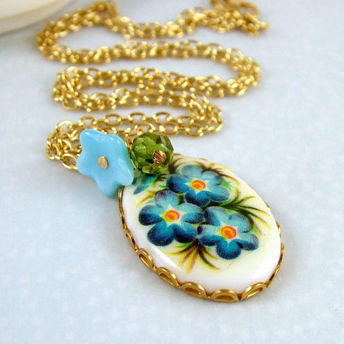 Blue Flower Bouquet Vintage Necklace - Limited Edition