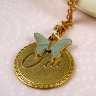 French 'Oui' and Butterfly Necklace - Vintage Brass