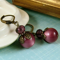 Berry Earrings - Vintage Moonglow Beads - Limited Edition