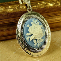 Cream and Blue Rose Cameo Locket