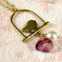 Tweet Sparrow Bird on a Perch Necklace in Gold