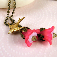 Pink Fuchsia and Swallow Necklace - Floral Nature and Vintage Inspired