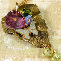 Enchanted Forest Necklace with Butterfly and Leaf - Nature Inspired