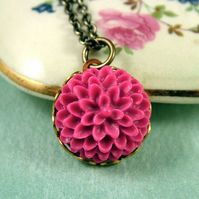 Petite Chrysanthemum Flower Necklace in Fuchsia