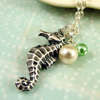 Sealife - Silver Seahorse and Pearls Necklace