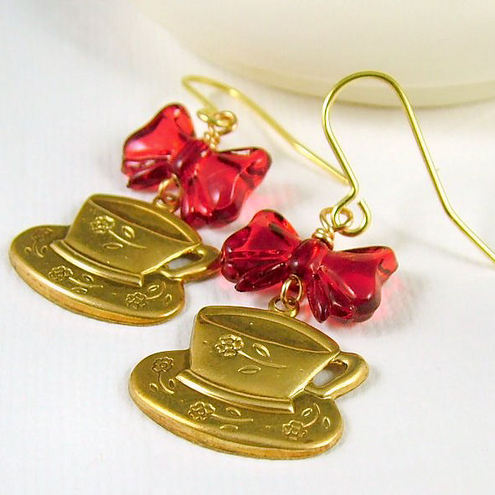 Teacups and Red Bows Earrings - Wonderland Inspired Kitsch