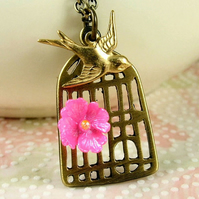 The Lone Swallow Necklace - Antiqued Brass Birdcage and Bird
