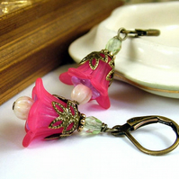 Fuchsia Bell Flower Earrings