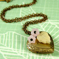 Flower Garden Necklace - Rose - Vintage Style Brass