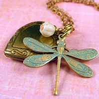 Aqua Dragonfly and Locket Necklace - Brass Vintage Style