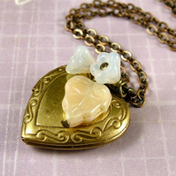 Flower Garden Locket Necklace - Lily - Vintage Style Brass