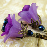 Midnight Violets Vintage Style Floral Earrings