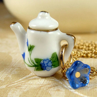 Blue and White Teapot Necklace