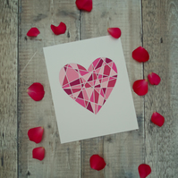 Pink Geometric Heart Papercut