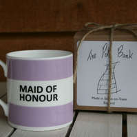 Maid of Honour Hoop Mug Gift Boxed (pictured in Lilac, choice of ten colours)
