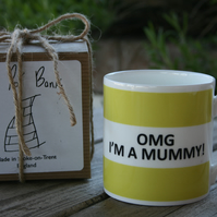 OMG I'm A Mummy Hoop Mug Boxed (pictured in light green, choice of ten colours)