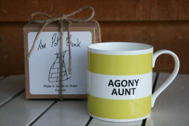 Agony Aunt Hoop Mug Gift Boxed (pictured in light green, choice of ten colours)
