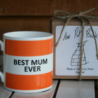 Best Mum Ever Hoop Mug Gift Boxed (choice of ten colours)