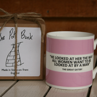He Looked at Her ... Great Gatsby Quote Hoop Mug Boxed (choice of ten colours)