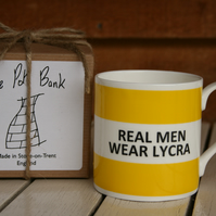 Real Men Wear Lycra Hoop Mug Gift Boxed (choice of ten colours)