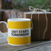 Diet Starts Tomorrow Hoop Mug Gift Boxed (choice of ten colours)