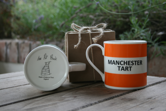 Manchester Tart Hoop Mug Gift Boxed (choice of ten colours)