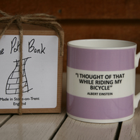 Albert Einstein Quote Hoop Mug Boxed (pictured in lilac, choice of 10 colours)