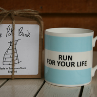 Run For Your Life Hoop Mug Gift Boxed (choice of ten colours)