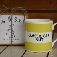 Classic Car Nut Hoop Mug Boxed (pictured in light green, choice of ten colours)
