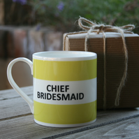 Chief Bridesmaid Hoop Mug Boxed (pictured in light green, choice of 10 colours)