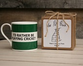 I'd Rather Be Playing Cricket Hoop Mug Gift Boxed (choice of ten colours)