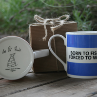 Born To Fish Forced To Work Hoop Mug Gift Boxed (choice of ten colours)