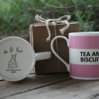 Tea and Biscuits Hoop Mug Gift Boxed (choice of ten colours)