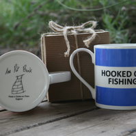 Hooked on Fishing Hoop Mug Gift Boxed (choice of ten colours)