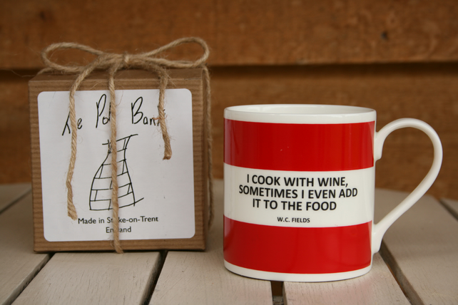 I Cook With Wine Quote Hoop Mug Gift Boxed (Choice of ten colours)