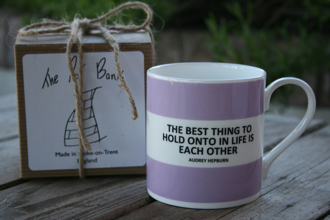 Audrey Hepburn Quote Hoop Mug Boxed (pictured in lilac, choice of 10 colours)