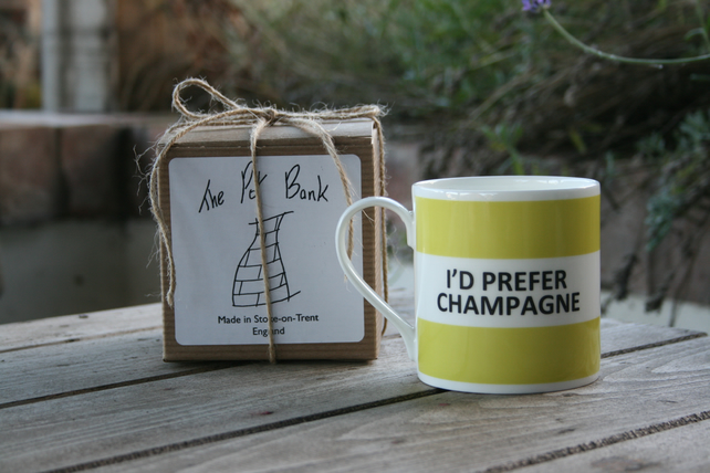 I'd Prefer Champagne Hoop Mug Gift Boxed (choice of ten colours)