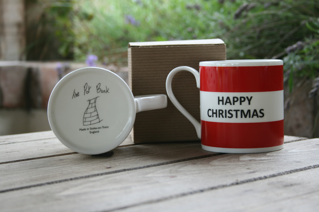 Happy Christmas Hoop Mug Gift Boxed (choice of ten colours)