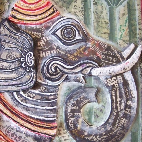 'Ganesh' 3D Collage Painting - Folksy