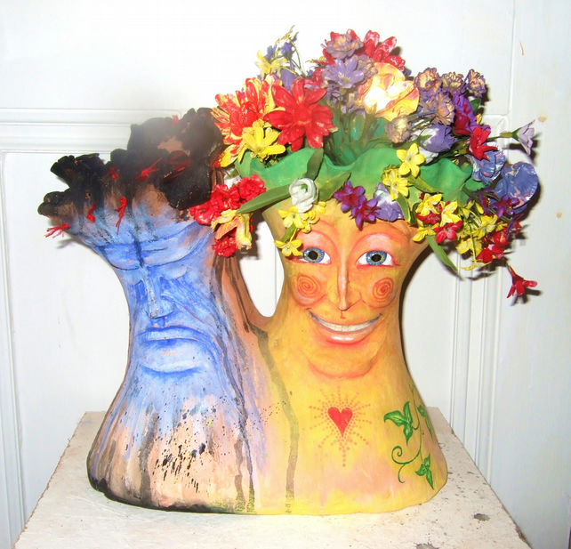 Waiting to Bloom ceramic sculpture ooak bust heads gemini faces flowers hippy