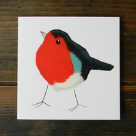 Robin card, printmaking