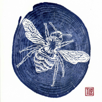Bee print card, woodcut, woodblock print, printmaking, blue